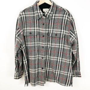 VTG J. Crew Wool Plaid Button Down Shirt, Large